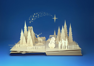 Pop-Up Book - Christmas Story. Styled 3D pop-up book with a chrsitmas theme including a family building a snowman winter forest and stars.