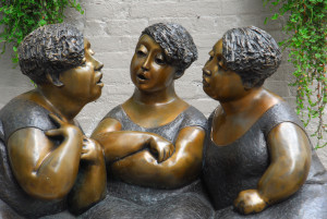 Artistic statues of women talking in Montreal, Quebec