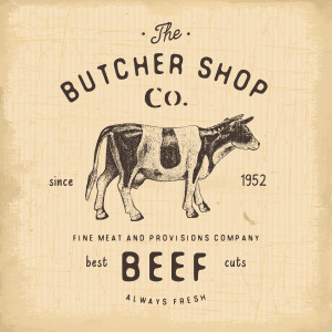 Butcher Shop vintage emblem beef meat products butchery Logo template retro style. Vintage Design for Logotype Label Badge and brand design. vector illustration.
